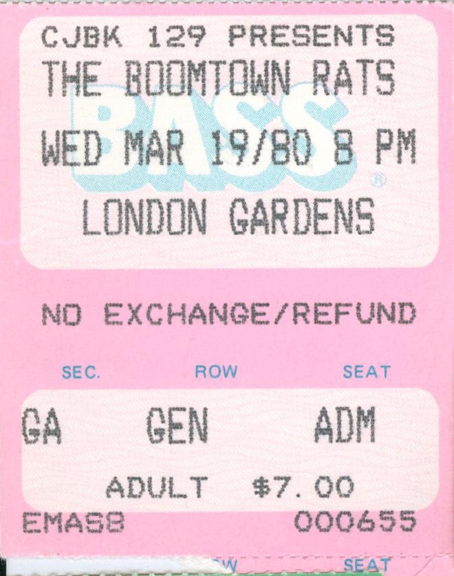 Boomtown Rats Ticket, Wednesday March 19 1980, London Gardens, London, Ontario, Canada MyLifeInConcert.com