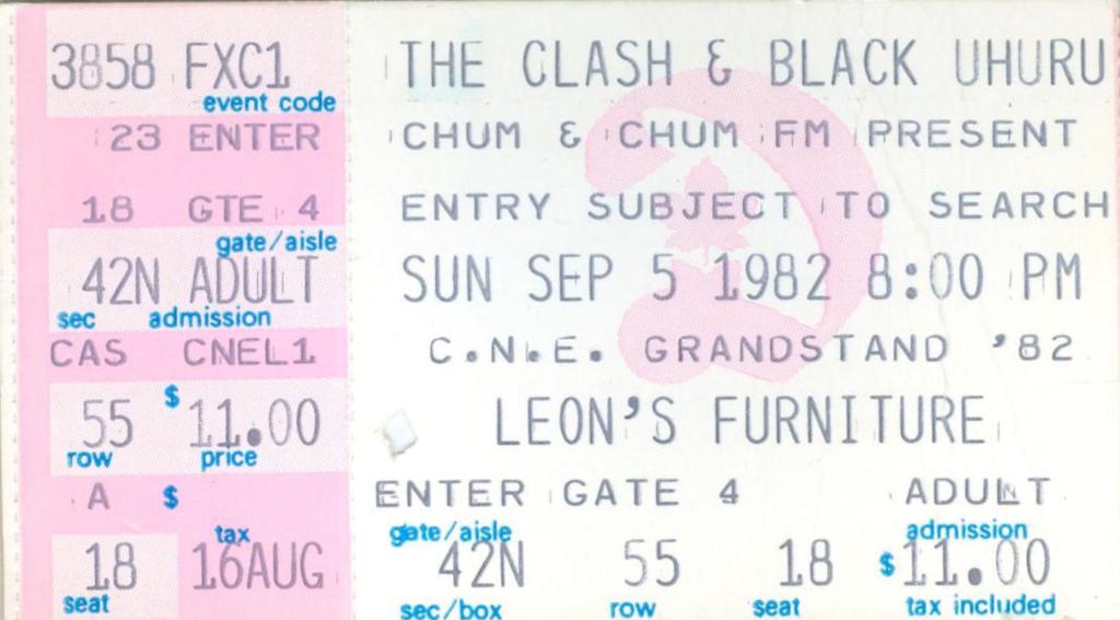 Clash City Rockers: The Clash with Black Uhuru, CNE Grandstand, Toronto, Ontario, Canada, Sunday September 5, 1982, Episode 18, Concert no. 12, mylifeinconcert.com