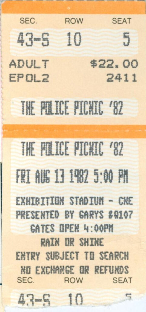 EP 17 (no.11) What A Day That Was: Police Picnic '82, CNE Stadium, Toronto, Ontario, Canada, August 13, 1982, mylifeinconcert.com, ticket