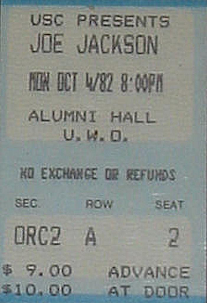 ) Joe Jackson: Night & Day, Alumni Hall, Western University, London, Ontario, Canada, Monday October 4, 1982, EP 19, mylifeinconcert.com
