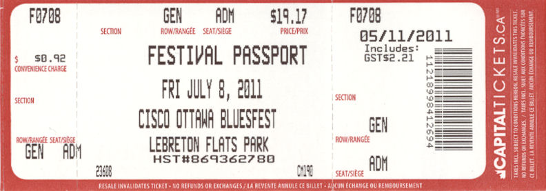Friday July 8 Ottawa Bluesfest 2011 myllifeinconcert.com