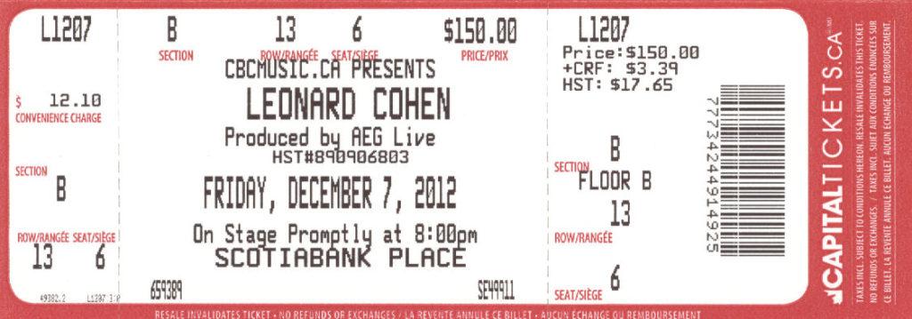 Leonard Cohen Ottawa 2012 mylifeinconcert.com