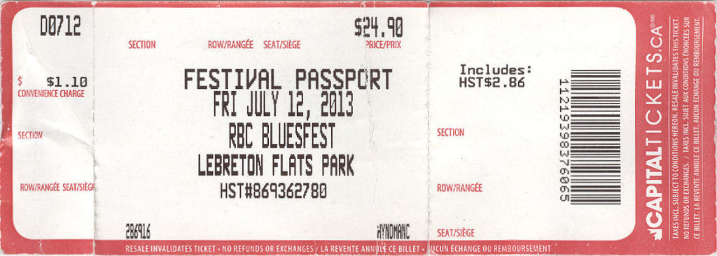 Ottawa Bluesfest ticket 2013 mylifeinconcert.com
