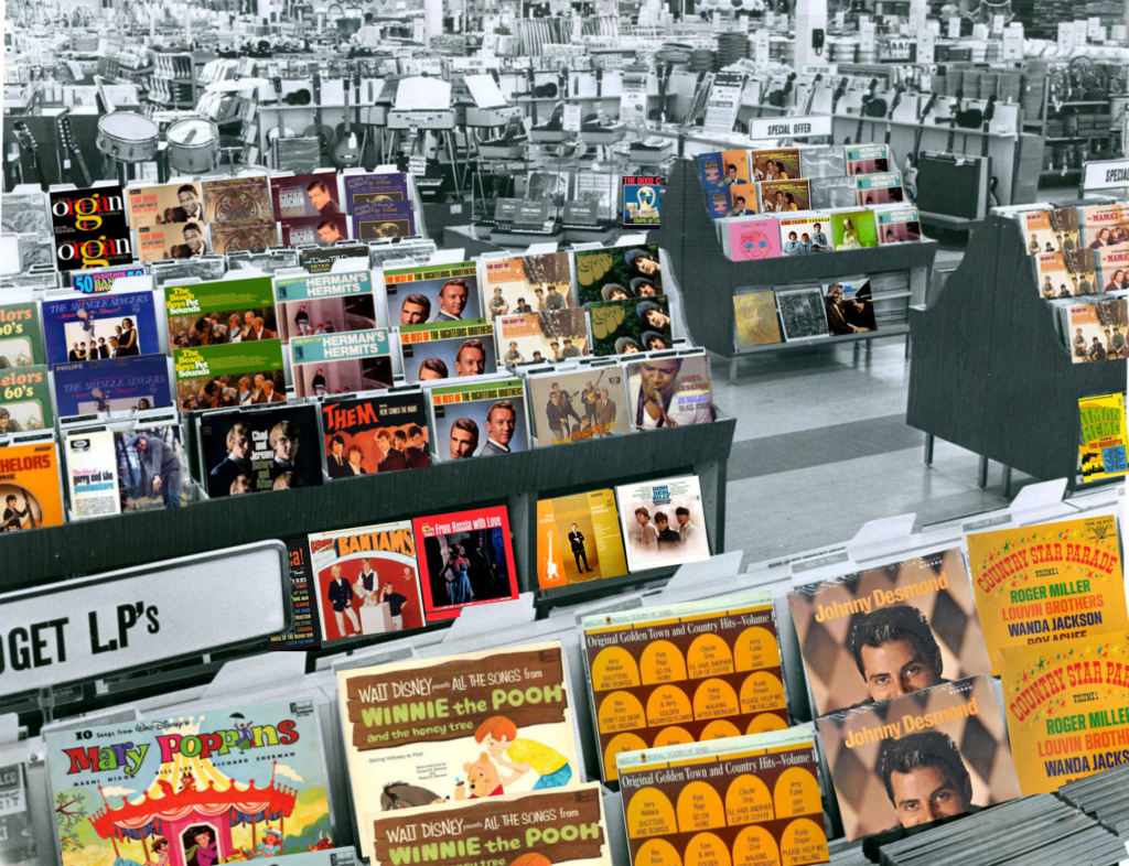Woolco Record Department, Argyle Mall, London, Ontario, Canada, June 1966, coloured covers, mylifeinconcert.com