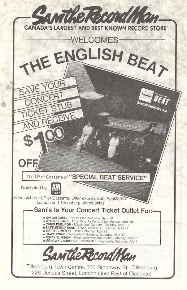 Beat R.E.M. Tuesday April 12 1983 London Ontario Alumni Hall Program back variousartists