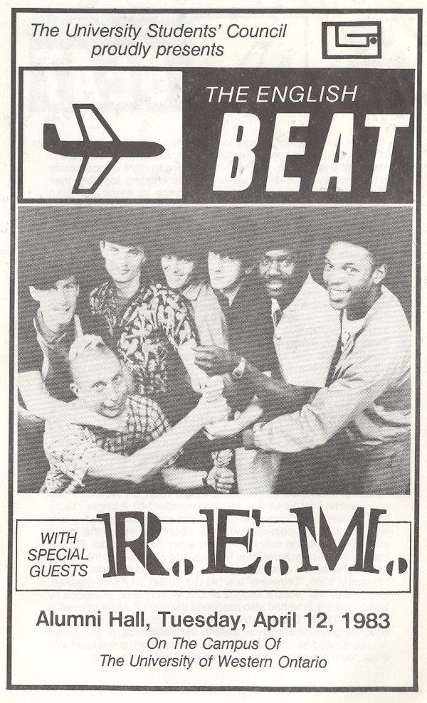 Beat R.E.M. Tuesday April 12 1983 London Ontario Alumni Hall Program Cover variousartists