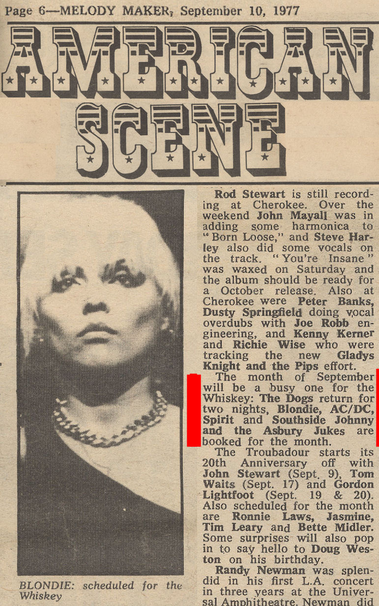 BLOG MM Sept 77 Blondie American Scene with RED