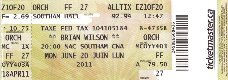 Brian Wilson Ticket, Ottawa, Monday June 20 2011, VariousArtists
