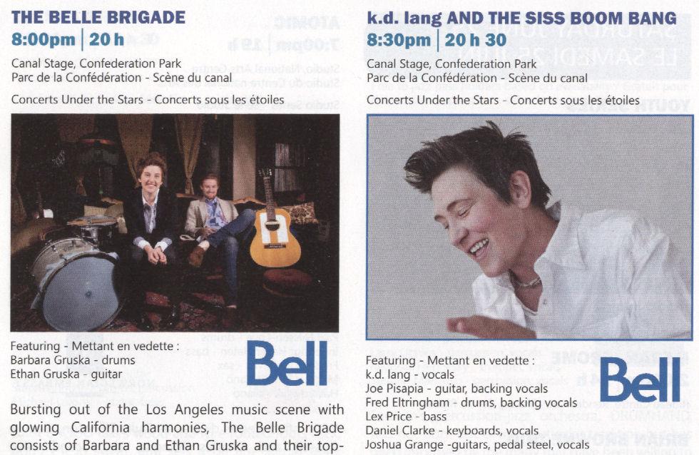 kd lang Bell Brigade 2011 JFest Booklet