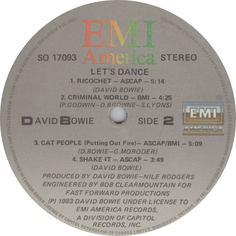 LABEL David Bowie Lets Dance Side 2