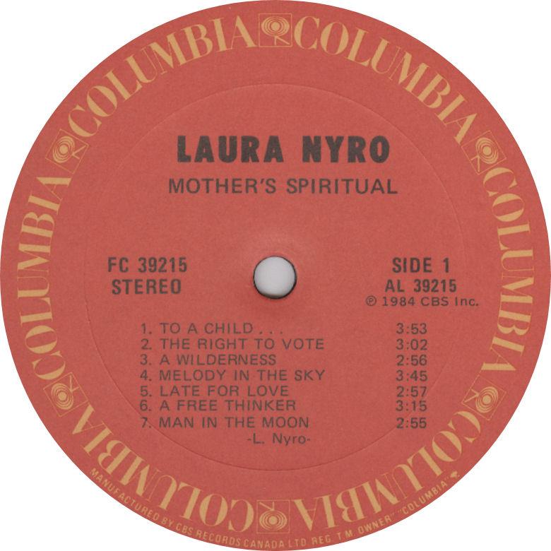 Laura Nyro Mother Spiritual Label Columbia