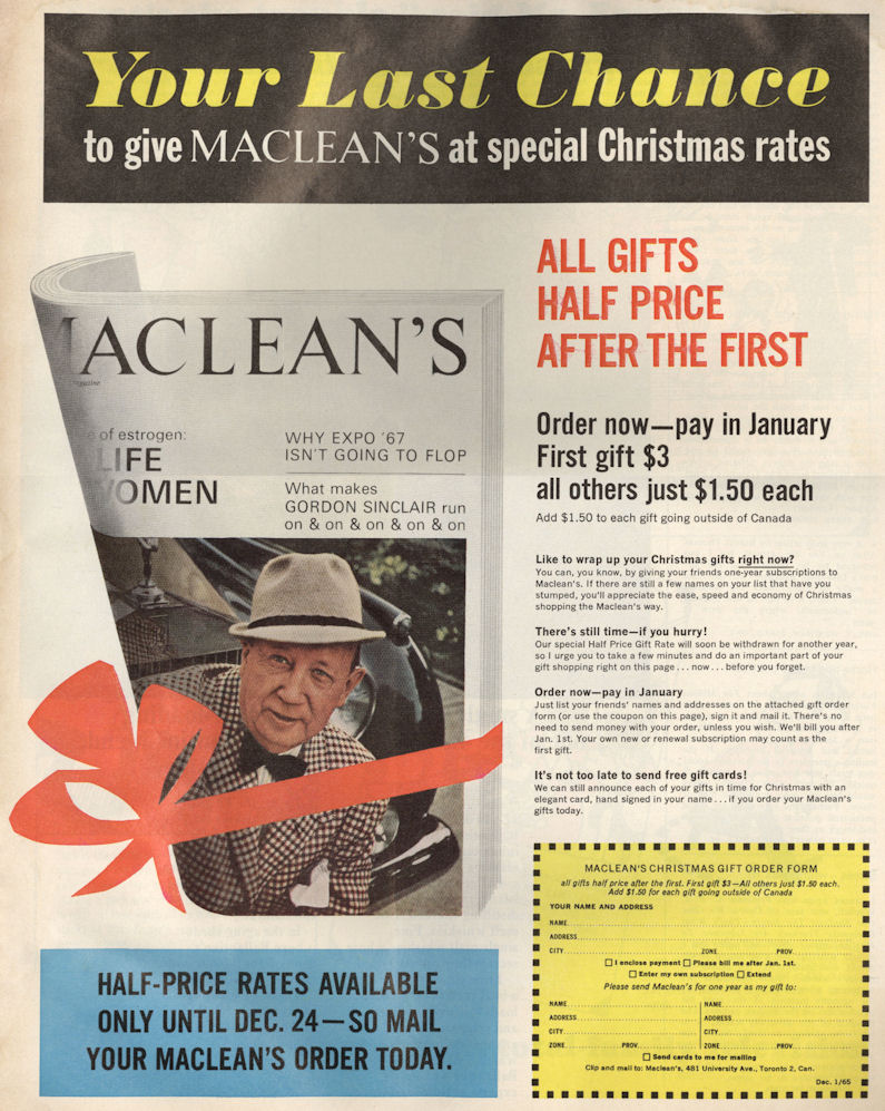 Macleans Dec 62 Sub Ad BLOG