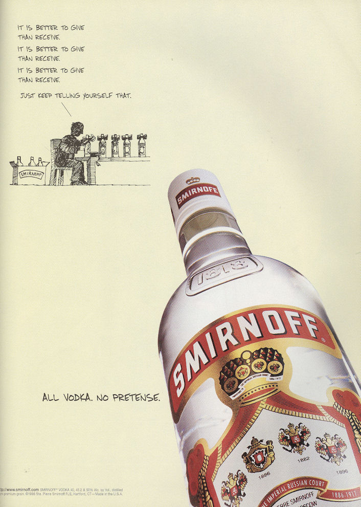Out Dec98 smirnoff better to give BLOG