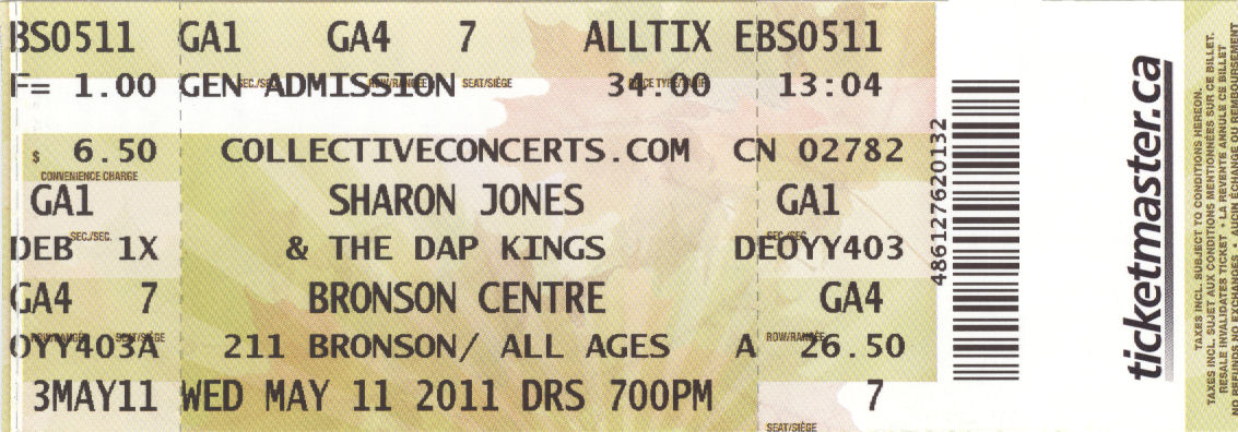 Sharon Jones Ticket BLOG