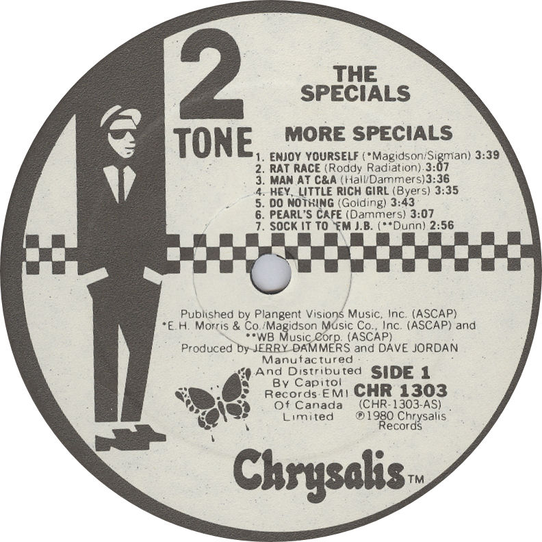 Specials More Specials LP label Canada