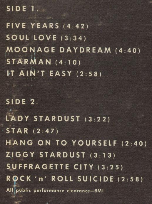 David Bowie Ziggy Stardust Track Listing on back of LP BLOG