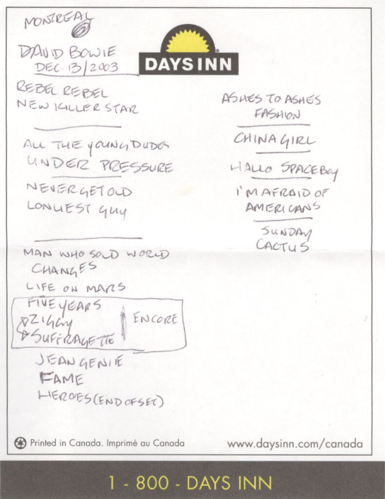 Never Get Old: David Bowie with The Polyphonic Spree, Corel Centre, Ottawa, Ontario, Canada, April 2, 2004, set list, mylifeinconcert.com