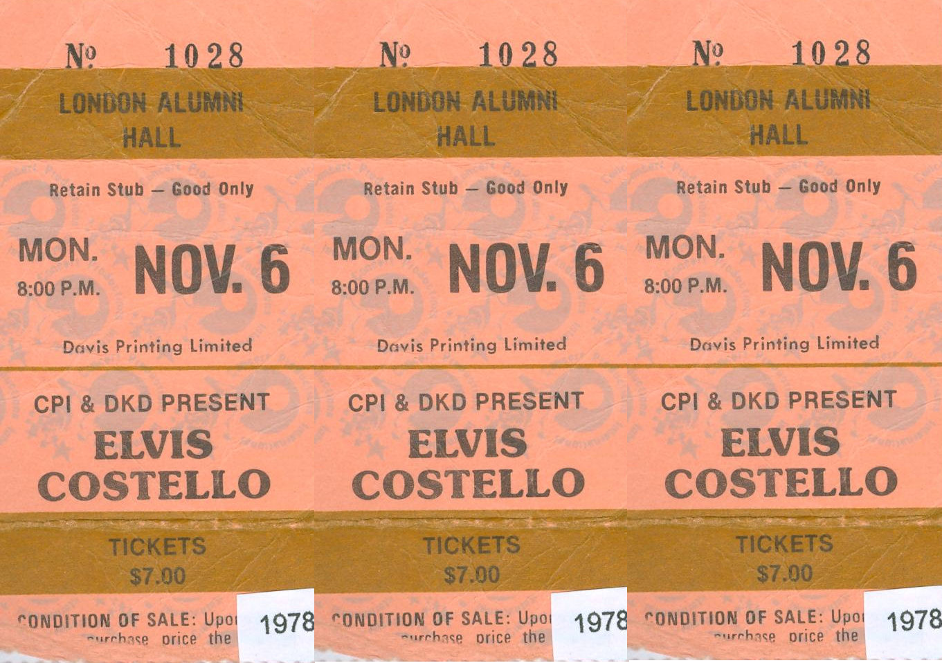 Elvis Costello and The Attractions, Alumni Hall, London, Ontario, Canada, Monday November 6, 1978, Ticket, mylifeinconcert.com, Episode 8, Concert Number 3