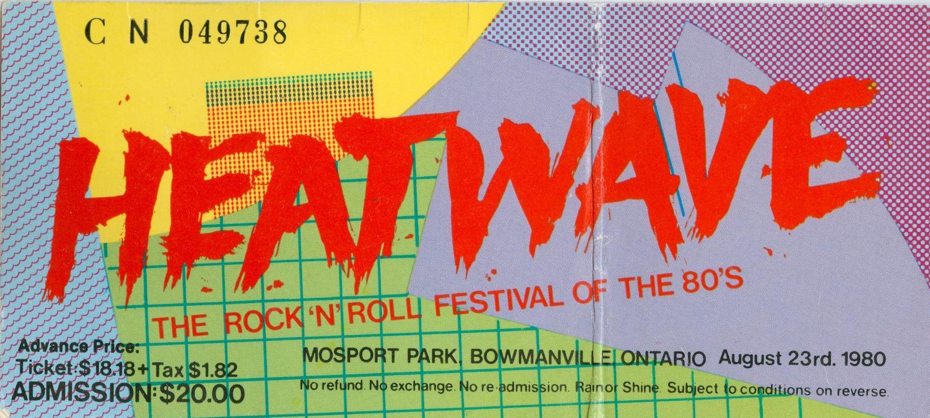 Heatwave Festival Ticket, August 23, 1980, Canada, mylifeinconcert.com
