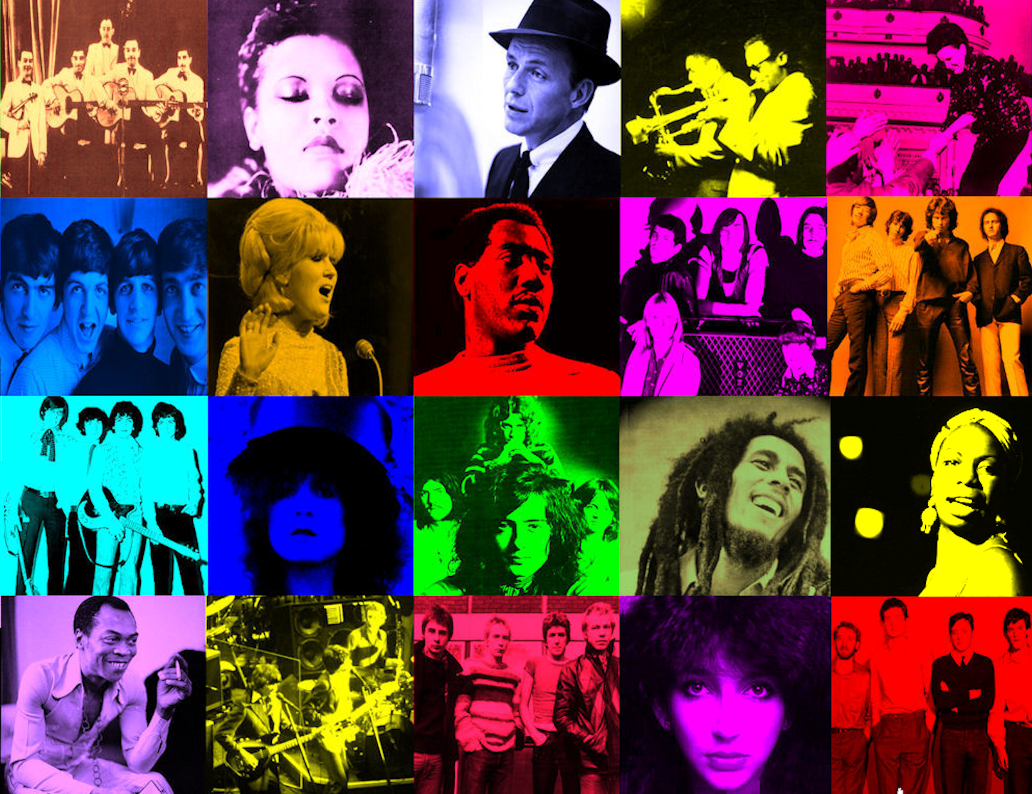 You Won't See Me: 20 Acts I Wish I'd Seen (1920s-1980) featuring Billie Holiday, The Sex Pistols, Fela Kuti, Frank Sinatra, The Beatles and more, Cube of Artists, mylifeinconcert.com,Episode 11, Concert Number 20A