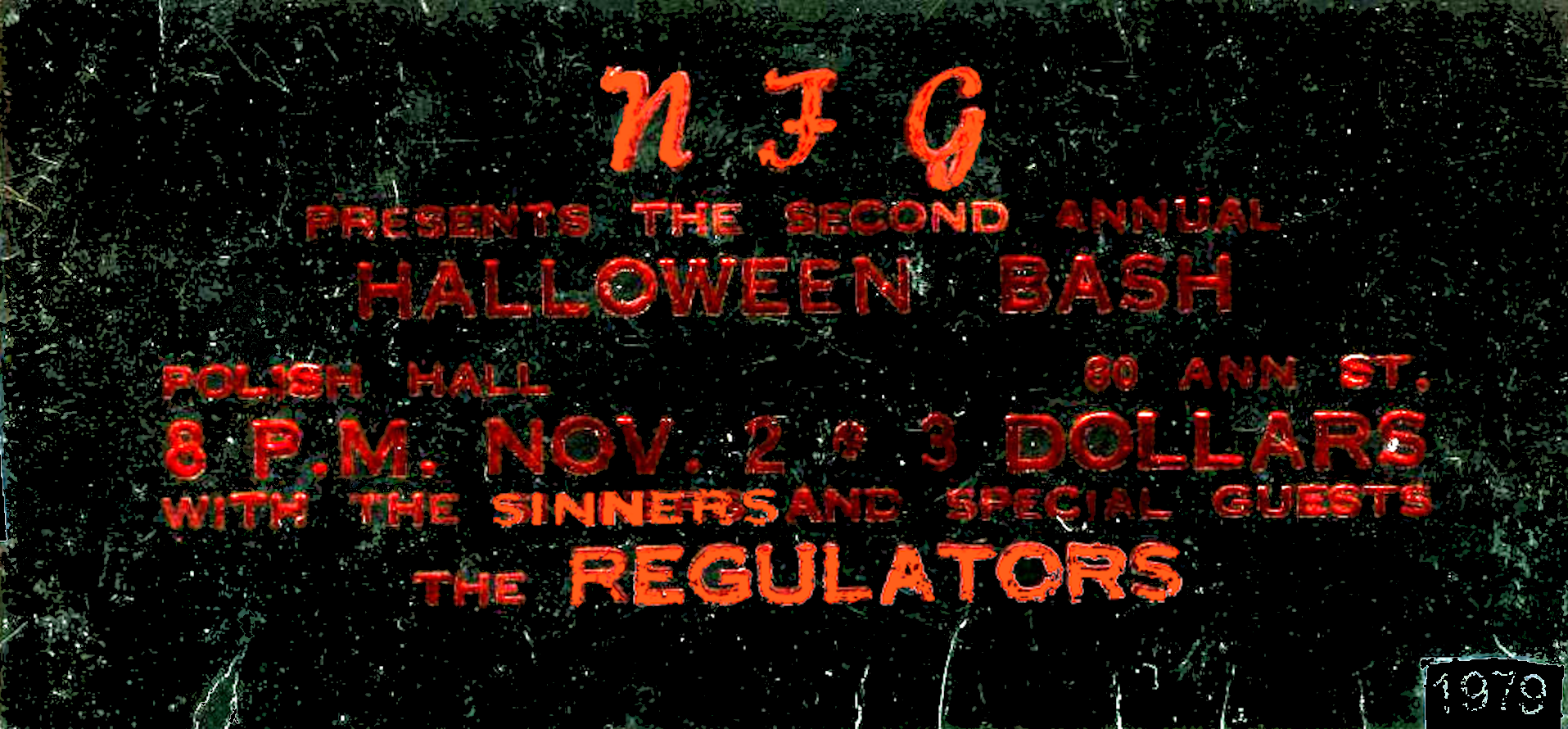 NFG Regulators Sinners Polish Hall London Ontario November 2 1979 mylifeinconcert.com