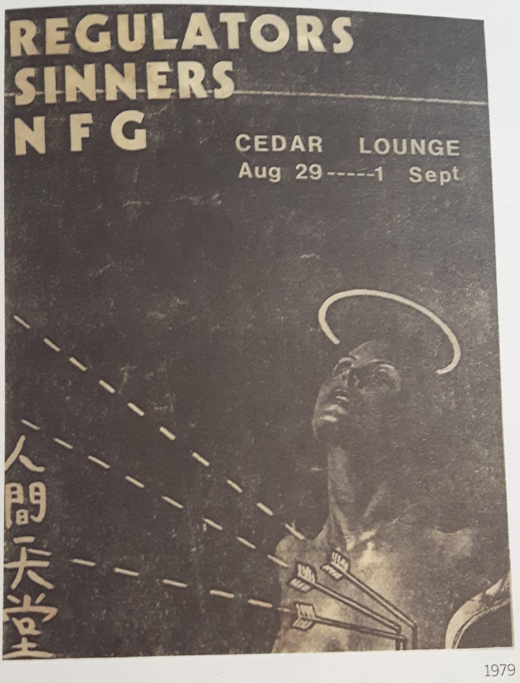 Regulators, Sinners, NFG, Cedar Lounge, London, Ontario, Canada, August 29 to September 1, 1979, mylifeinconcert.com